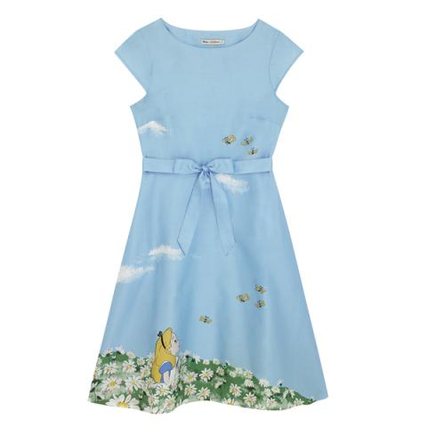 DISNEY COTTON SATEEN DRESS ALICE`S MEADOW PL02 SEA BLUE 10