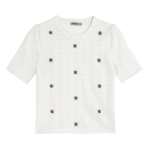 BUMBLE BEE WARM CREAM EMBROIDERED STITCH JUMPER