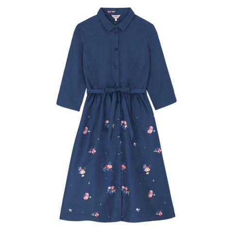 CLEAN LINE SHIRT DRESS  BUSBY BUNCH SCATTERED  NAVY