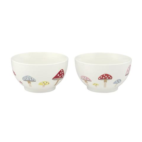 Mini Mushrooms Set of Two Cereal Bowls