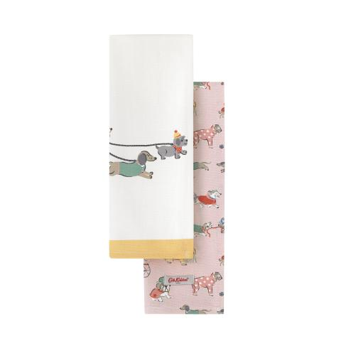 TEA TOWEL SET X 2 SMALL PARK DOGS