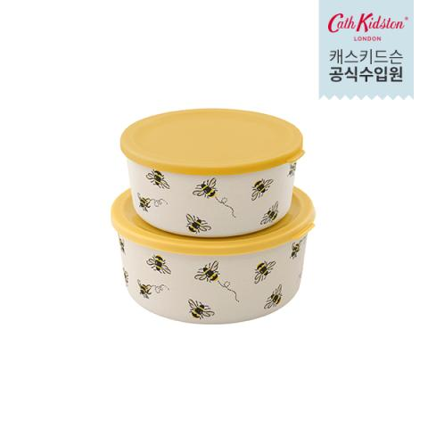 SET 2 ROUND LUNCH BOXES BEE