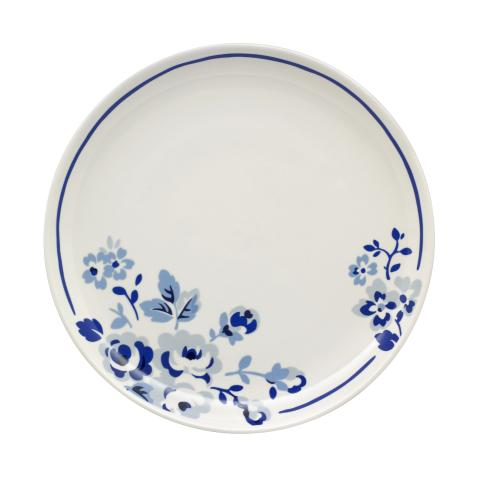 LARGE PLATE LARGE SPRAY FLOWERS MID BLUE