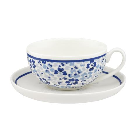BRITISH TEACUP & SAUCER LARGE SPRAY FLOWERS MID BLUE