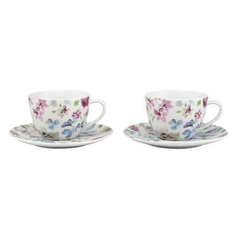 SET OF 2 TEACUP & SAUCER PRESSED FLOWERS IVORY