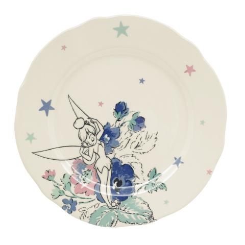 DISNEY TEA PLATE SKETCHED TINKER BELL OFF WHITE