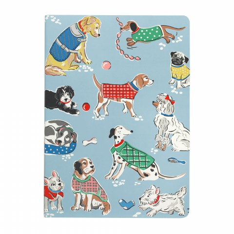 A5 SOFT COVER NOTEBOOK DOGS SOFT BLUE