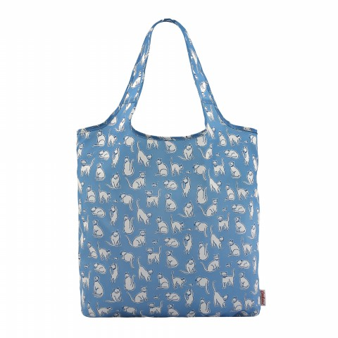 FOLDAWAY SHOPPING BAG MONO CATS MID BLUE