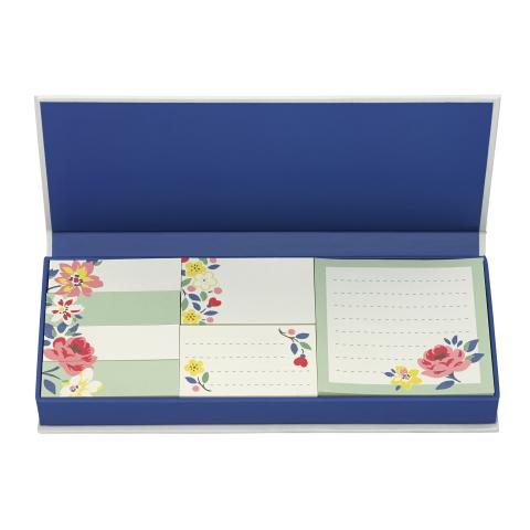 BOX OF STICKY NOTES LITTLEMORE FLOWERS CREAM MULTI