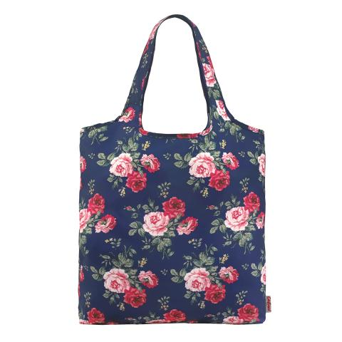 FOLDAWAY SHOPPING BAG SMALL ANTIQUE ROSE NAVY