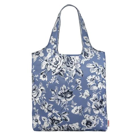 FOLDAWAY SHOPPING BAG ETCHED FLORAL PERIWINKLE