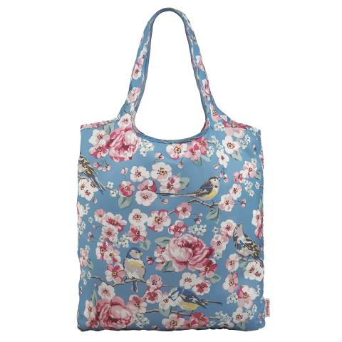 FOLDAWAY SHOPPING BAG MEADOWFIELD BIRDS CELADON