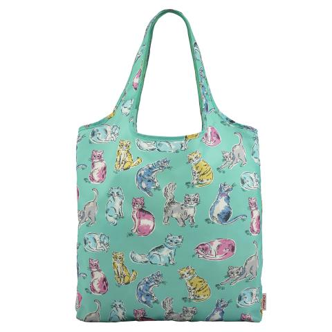 FOLDAWAY SHOPPING BAG CATS PEPPERMINT