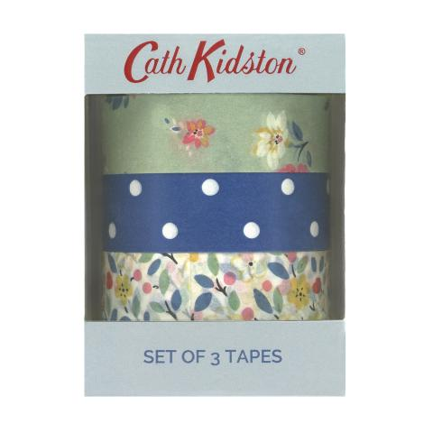 SET OF 3 PRINTED PAPER STICKY TAPES LITTLEMORE FLOWERS CREAM MULTI