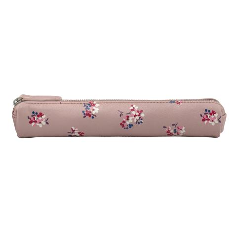 LEATHER SKINNY PENCIL CASE WOODSTOCK DITSY PLASTER PINK