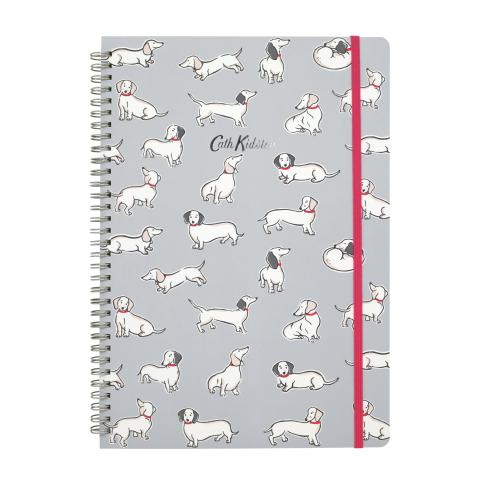 A4 SPIRAL BOUND NOTEBOOK  MONO DOG PALE GREY