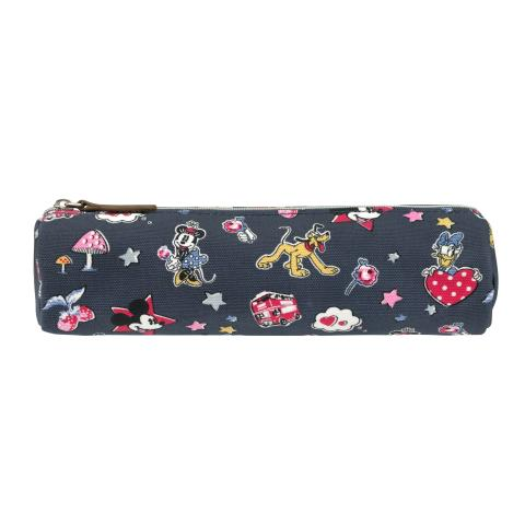 Disney Tube Pencil Case Mickey & Minnie Little Patches Slate Grey