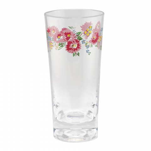 PLASTIC HIGH BALL GLASS DAISY BUNCH OFF WHITE