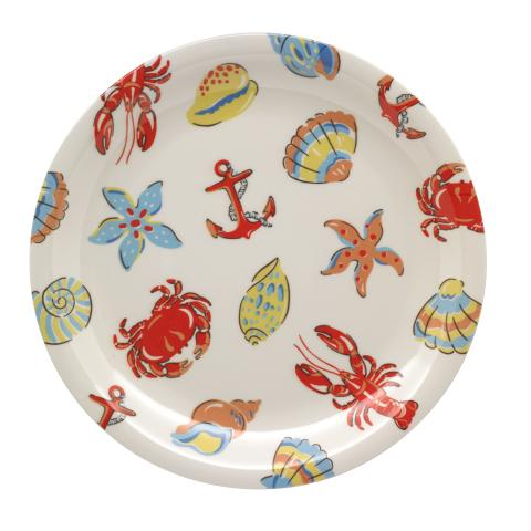 MELAMINE SIDE PLATE LOBSTER & FRIENDS OFF WHITE
