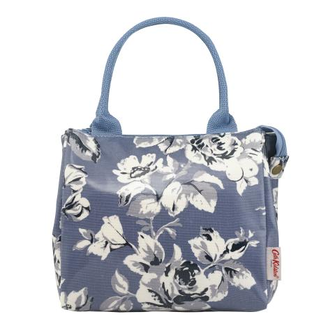 LUNCH TOTE ETCHED FLORAL PERIWINKLE