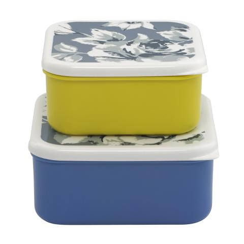 SET OF 2 LUNCH BOXES ETCHED FLORAL PERIWINKLE