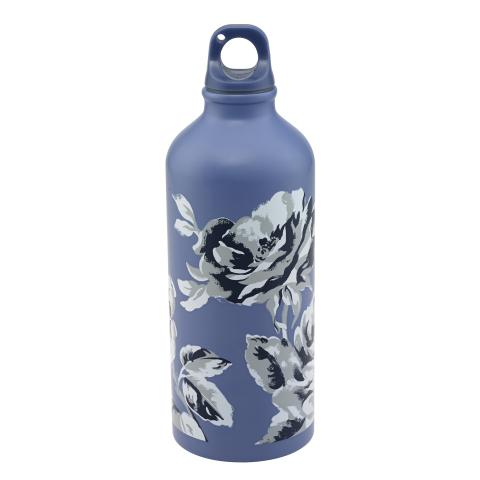 ALUMINIUM WATER BOTTLE ETCHED FLORAL PERIWINKLE