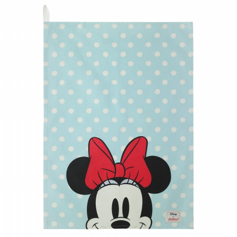 DISNEY TEA TOWEL MINNIE & MICKEY SPOT AQUA