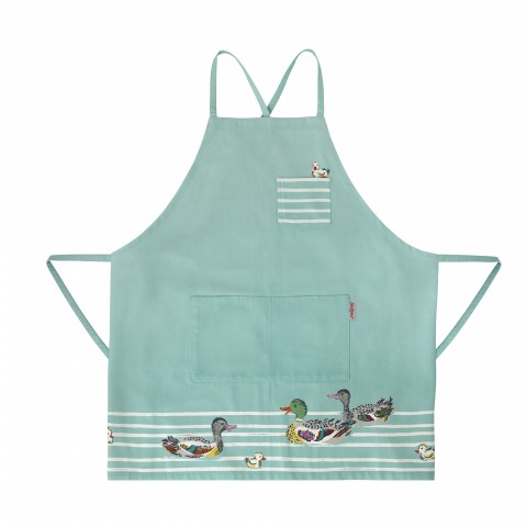 NEW APRON SHAPE PLACEMENT DUCKS IN A ROW TRUE BLUE
