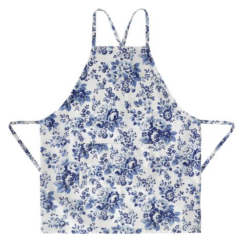 NEW APRON SHAPE LARGE SPRAY FLOWERS MID BLUE