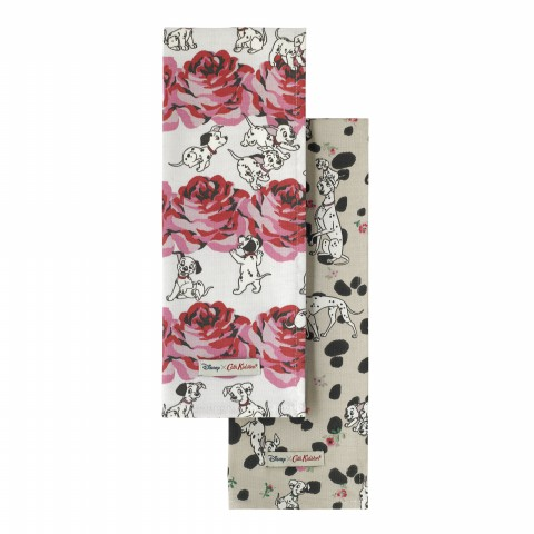 DISNEY SET OF TWO TEA TOWEL PUPPIES & ROSES OFF WHITE