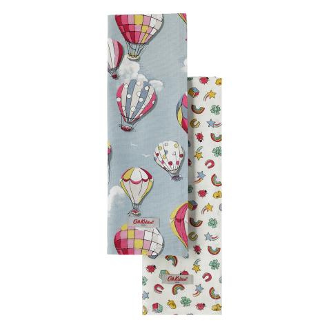 SET OF 2 TEA TOWEL HOT AIR BALLOONS DUSTY BLUE