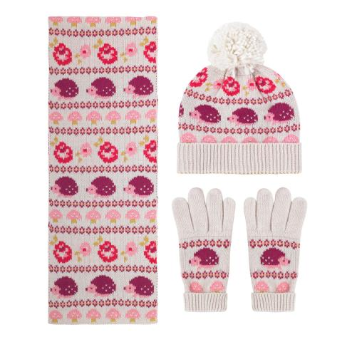 KNITTED HAT, SCARF & MITTENS SET MINI GARDEN CLUB