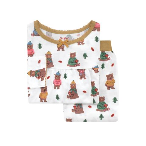 Kids LS Jersey PJs Woodland Bear