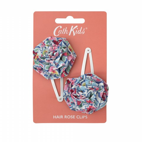 KIDS HAIR ROSE CLIPS FOREST DITSY BLUE MULTI