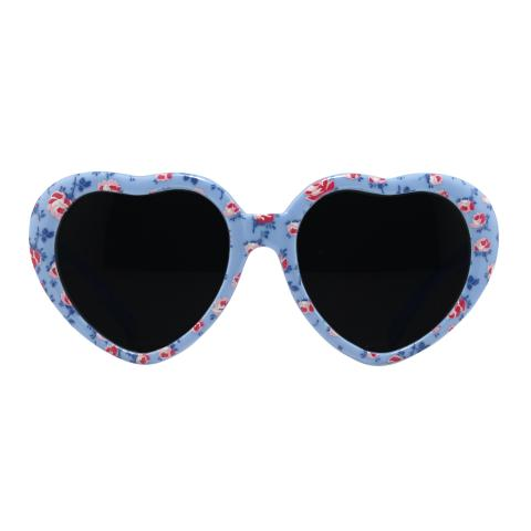 KIDS HEART SHAPED SUNNIES  SCATTERED ROSE FRESH BLUE