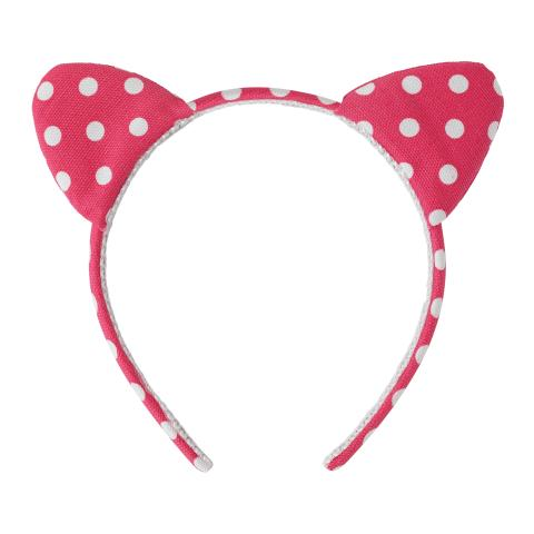 KIDS HEADBAND WITH EARS LITTLE SPOT BRIGHT CORAL