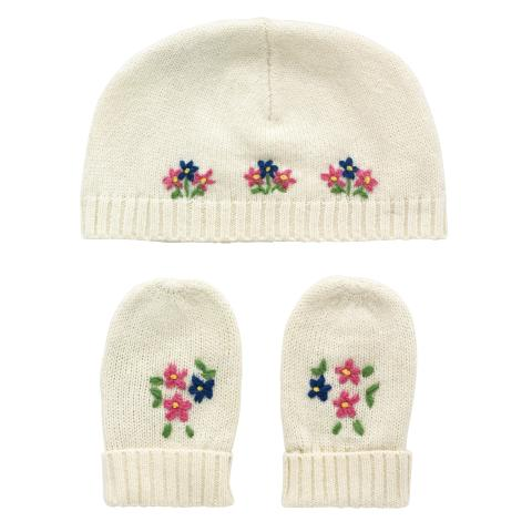 KNITTED HAT & MITTENS CREAM