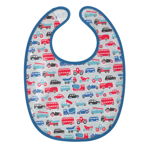 BABY BIB LITTLE WHEELS PALE GREY