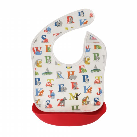 KIDS BIB W/FOOD CATCHER ANIMAL ALPHABET MULTI