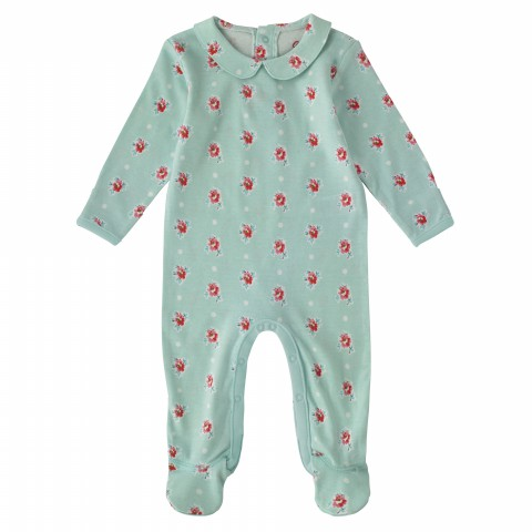 BABY SLEEPSUIT W/PETER PAN COLLAR SPRIG SPOT PEPPERMINT 6-12M