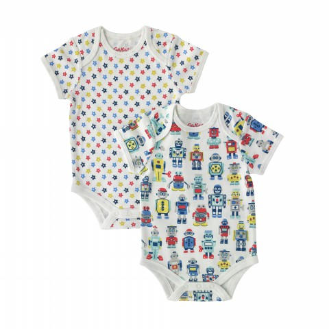 BABY BODYSUIT 2PK SHORT SLEEVE ROBOTS CREAM 6-12M