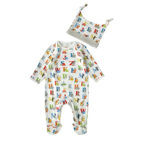 BABY SLEEPSUIT & HAT GIFT SET ANIMAL ALPHABET MULTI 3-6 M