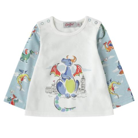 BABY BOYS LS TOP MINI DRAGONS LIGHT BLUE 3-6 M
