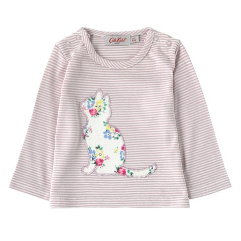 BABY GIRLS LS TOP LITTE STRIPE OFF WHITE 3-6 M