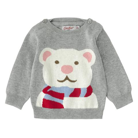 BABY KNITTED JUMPER GREY MARL 3-6 M