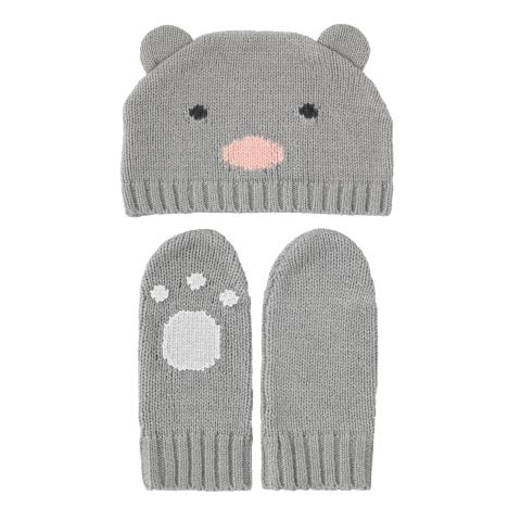 BABY KNITTED HAT & MITTEN GREY MARL