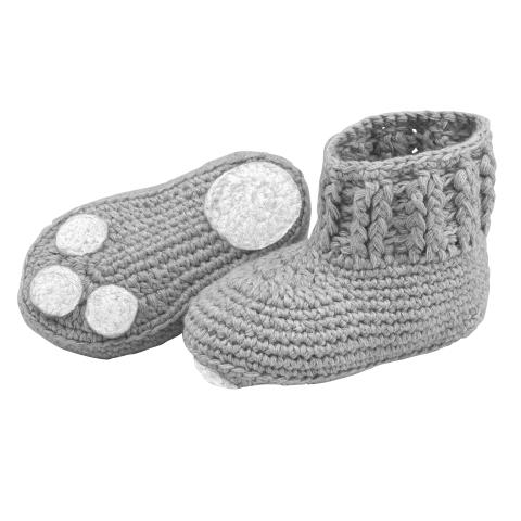 BABY POLAR BEAR CROCHET BOOTIE GREY MARL