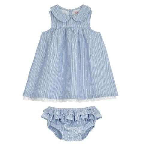 BABY COLLAR DRESS WITH BRODERIE ANGLAISE & BRIEF SOLID BLUE 6-12 M