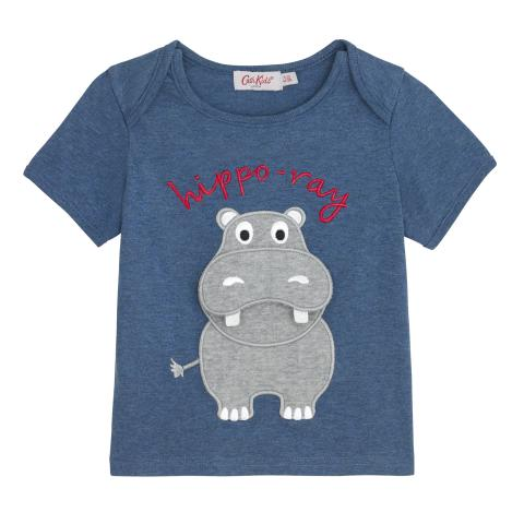 BABY HIPPO T-SHIRT PLAIN WITH PLACEMENT PRINT NAVY 6-12 M