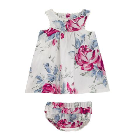 BABY ELEANOR DRESS WITH BRIEF BIRTHDAY ROSE VINTAGE CREAM 3-6 M